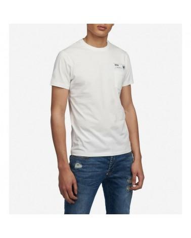 Blauer t-shirt mann kurzarm mit brusttasche